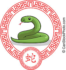 Chinese Zodiac Animal - Snake - A vector image of a chinese...