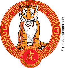 Chinese Zodiac Animal - Tiger - A vector image of a chinese...