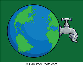 Earth Water Problem - A vector of a world globe with dried...
