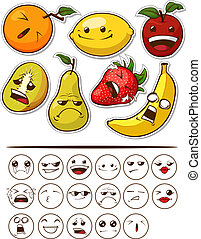 Funny Fruit with Expression - A vector set of fruits with...