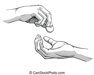 Hands Giving and Receiving Money - A vector of two hands,...