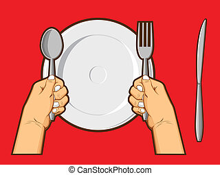 Hands Holding Spoon Fork and Knife - An isolated vector of a...