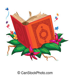 Holy Book on Leaves Surrounded with - A vector illustration...