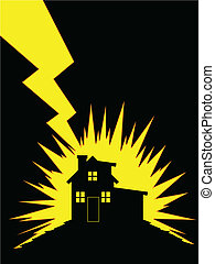House Struck by Lightning - A vector of silhouette of...