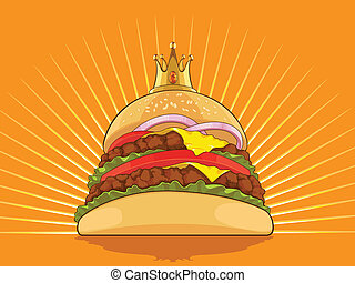 King Burger - A vector image of a big burger wearing a...