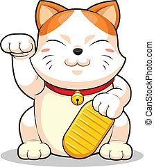 Lucky Cat (Makeni Neko) - A vector image of asian lucky cat....