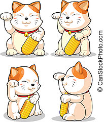 Lucky Cat Makeni Neko from Severa - A vector set of asian...