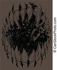 Monster Mouth Grunge version - A vector of claws monster...