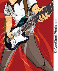 Playing Guitar - A vector image of a musician playing...