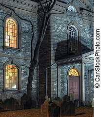 Scary house - Exterior facade of scary haunted church with...