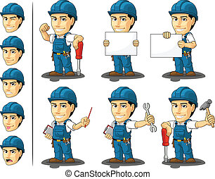 Technician or Repairman Mascot - A vector set of a male...
