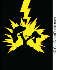 Tree Struck by Lightning - A vector of silhouette of...