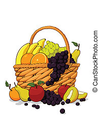Variety of Fresh Fruits in The Wood - An isolated vector of...