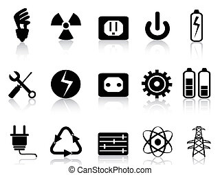 electricity and power icons set