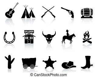 Wild West and Cowboys icons set - isolated black Wild West...