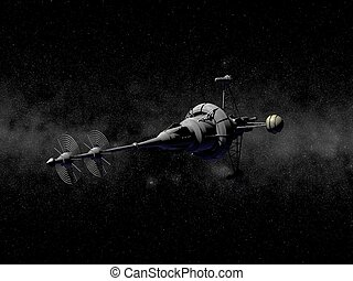 pointy spaceship - A gray pointy spaceship in space with...