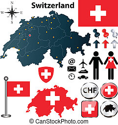 Map of Switzerland with regions - Vector set of Switzerland...