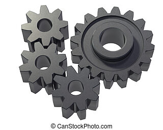 four cogwheels - An isolated four small cogwheels on white...