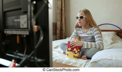 Child Watching 3D TV Movie at Home
