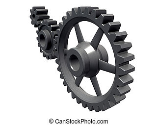 three cogwheels detail - An isolated detail of three...