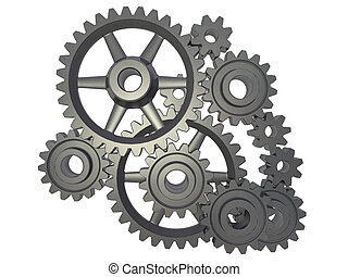 cogwheel mechanism - An isolated cogwheel mechanism on white...