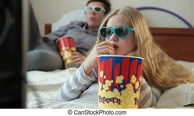 Watching 3D TV Movie at Home