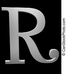 Letter R in brushed steel isolated on black with clipping...