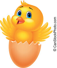 Cracked egg with cute bird inside - Vector illustration of...