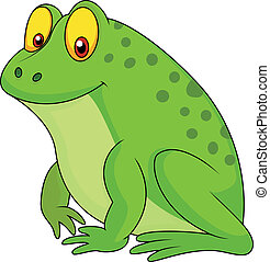 Cute green frog cartoon