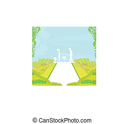 A vector illustration of a family having a picnic in a park...