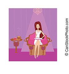 Ilustracja, dziewczyna, czytanie, książka