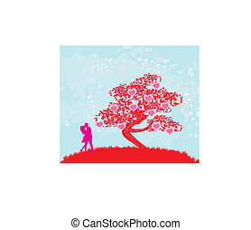 greeting card with silhouette of romantic couple