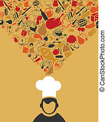 Cook - The cook thinks about food A vector illustration