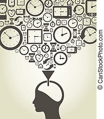 Time - The person thinks of time A vector illustration