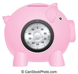 coinbank and combination lock - Coinbank and combination...