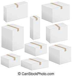 packaging box set - Cardboard box set on white background...