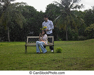 Asian couple in the park