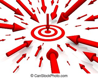 Row Red target with arrow on white