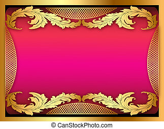 pink background with gold ornament of leaves - illustration...