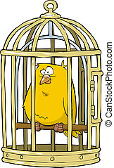 Canary in a bird cage vector illustration