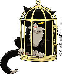 Cat in the bird cage vector illustration