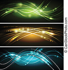 Glowing wavy vector banners - Dark colourful glowing...