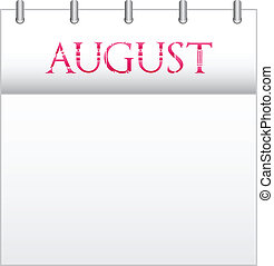 August - Calendar Month August With Custom Love Font