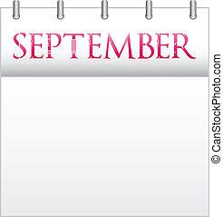 September - Calendar Month September With Custom Love Font
