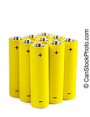 Batteries - Bunch of yellow batteries isolated over white...