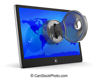 tablet with key on white background. Isolated 3D image