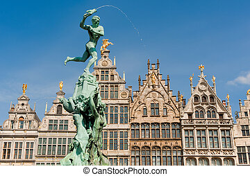 Great Market Square of Antwerp - Statue of Silvius Brabo...