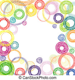 Abstract square background with colored circles - Vector...