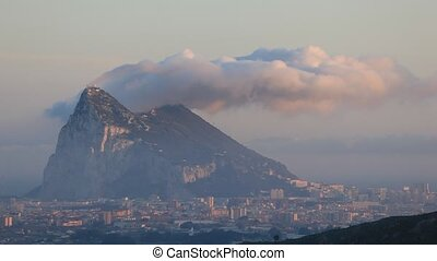 Gibraltar - Levant cloud hanging over the Rock of Gibraltar