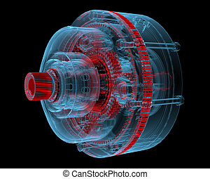 Reducer (3D xray blue transparent) - Reducer (3D xray red...